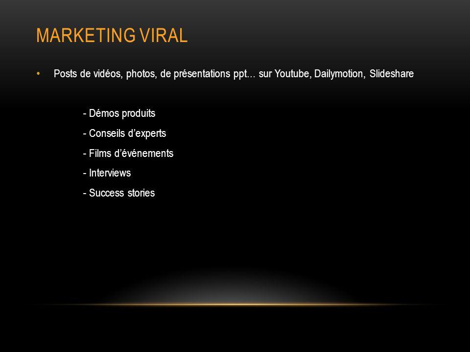 MARKETING VIRAL Posts de vidéos, photos, de présentations ppt… sur Youtube, Dailymotion, Slideshare - Démos produits - Conseils dexperts - Films dévénements - Interviews - Success stories
