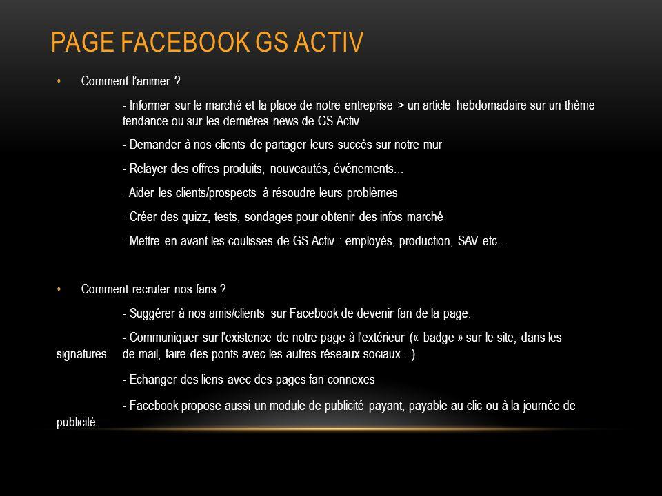 PAGE FACEBOOK GS ACTIV Comment lanimer .