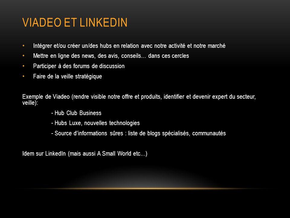 VIADEO ET LINKEDIN Intégrer et/ou créer un/des hubs en relation avec notre activité et notre marché Mettre en ligne des news, des avis, conseils… dans ces cercles Participer à des forums de discussion Faire de la veille stratégique Exemple de Viadeo (rendre visible notre offre et produits, identifier et devenir expert du secteur, veille): - Hub Club Business - Hubs Luxe, nouvelles technologies - Source dinformations sûres : liste de blogs spécialisés, communautés Idem sur LinkedIn (mais aussi A Small World etc…)