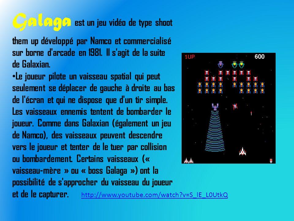 Galaga est un jeu vidéo de type shoot them up développé par Namco et commercialisé sur borne d arcade en 1981.