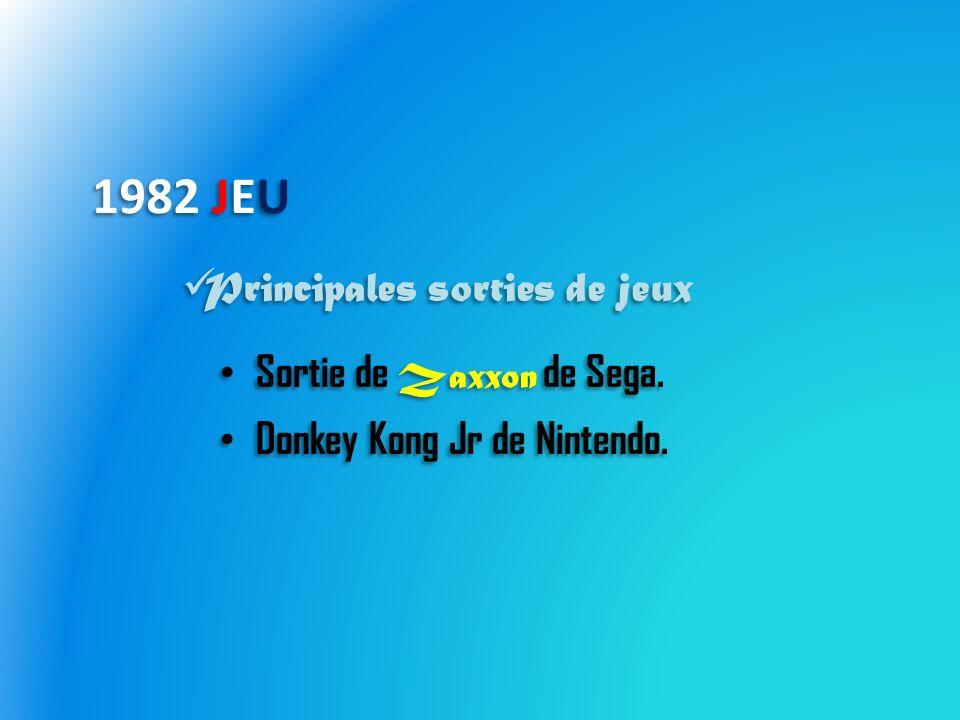 1982 JEU Sortie de Zaxxon de Sega. Donkey Kong Jr de Nintendo.