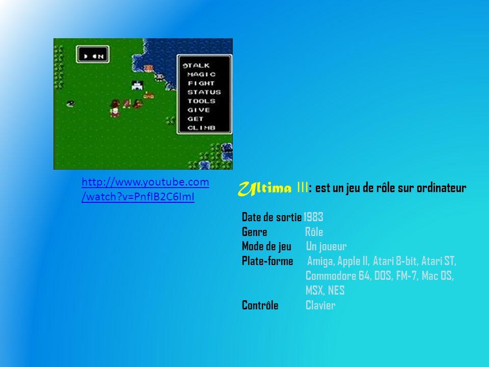 Ultima III : est un jeu de rôle sur ordinateur Date de sortie 1983 Genre Rôle Mode de jeu Un joueur Plate-forme Amiga, Apple II, Atari 8-bit, Atari ST, Commodore 64, DOS, FM-7, Mac OS, MSX, NES Contrôle Clavier http://www.youtube.com /watch?v=PnfIB2C6ImI