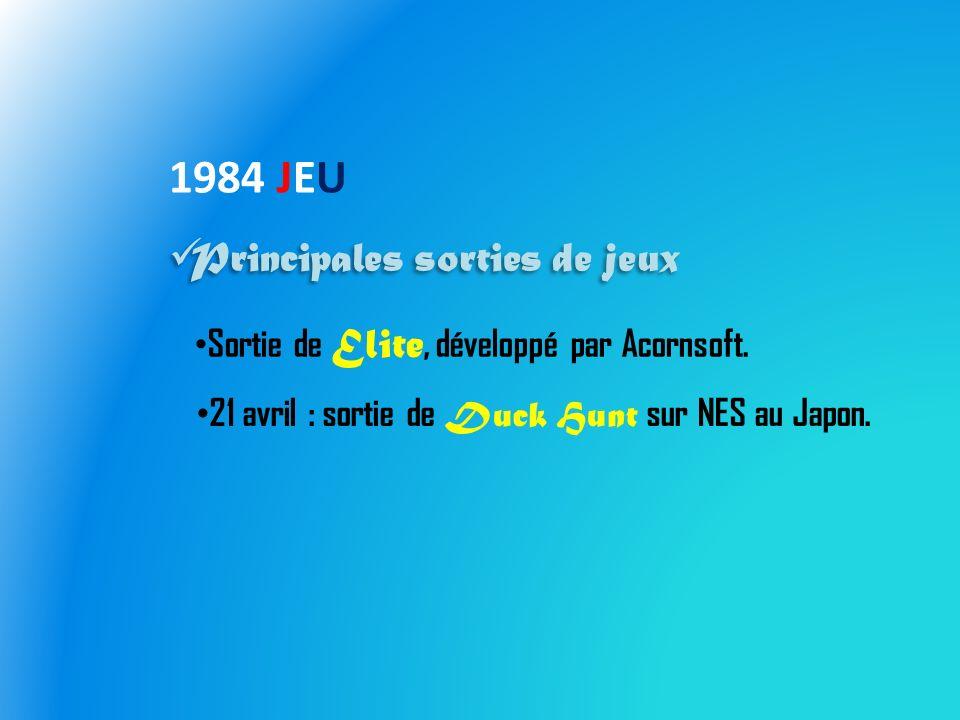 1984 JEU Principales sorties de jeux Sortie de Elite, développé par Acornsoft.