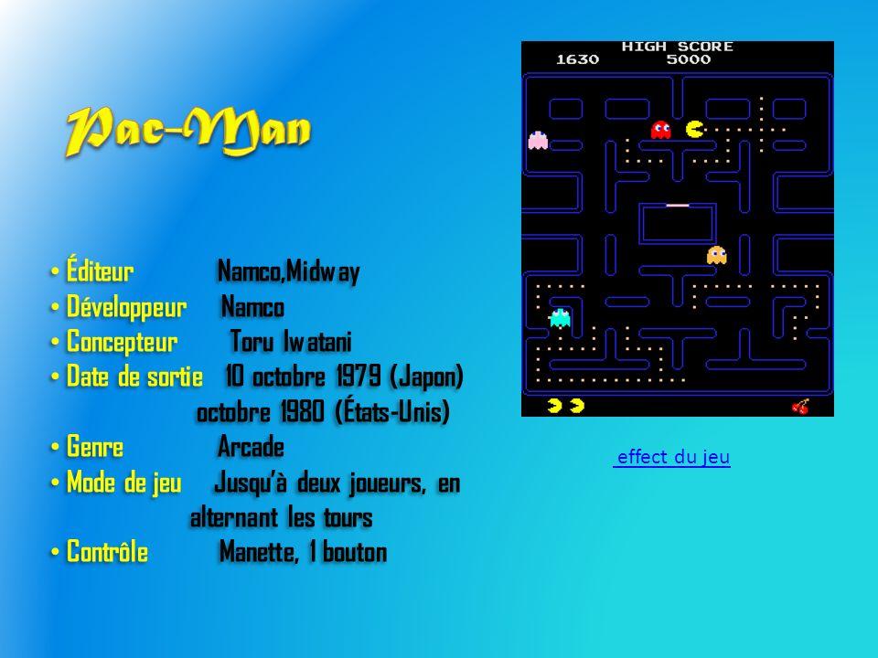 Éditeur Namco,Midway Développeur Namco Concepteur Toru Iwatani Date de sortie 10 octobre 1979 (Japon) octobre 1980 (États-Unis) Genre Arcade Mode de jeu Jusquà deux joueurs, en alternant les tours Contrôle Manette, 1 bouton Éditeur Namco,Midway Développeur Namco Concepteur Toru Iwatani Date de sortie 10 octobre 1979 (Japon) octobre 1980 (États-Unis) Genre Arcade Mode de jeu Jusquà deux joueurs, en alternant les tours Contrôle Manette, 1 bouton effect du jeu