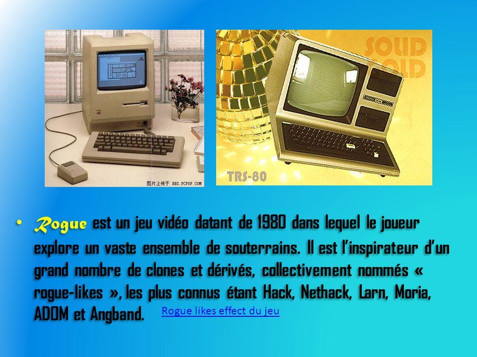 Rogue est un jeu vidéo datant de 1980 dans lequel le joueur explore un vaste ensemble de souterrains.