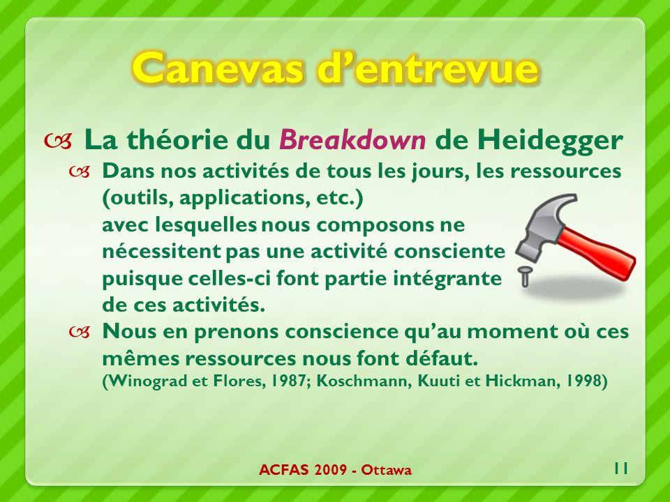 La théorie du Breakdown de Heidegger Dans nos activités de tous les jours, les ressources (outils, applications, etc.) avec lesquelles nous composons ne nécessitent pas une activité consciente puisque celles-ci font partie intégrante de ces activités.