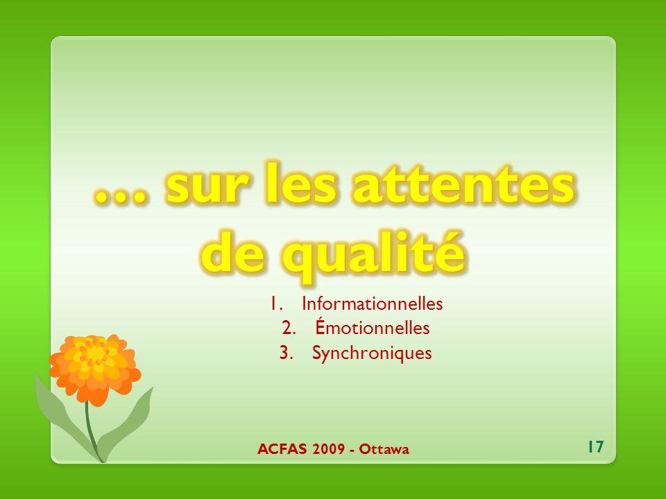 1.Informationnelles 2.Émotionnelles 3.Synchroniques ACFAS 2009 - Ottawa 17