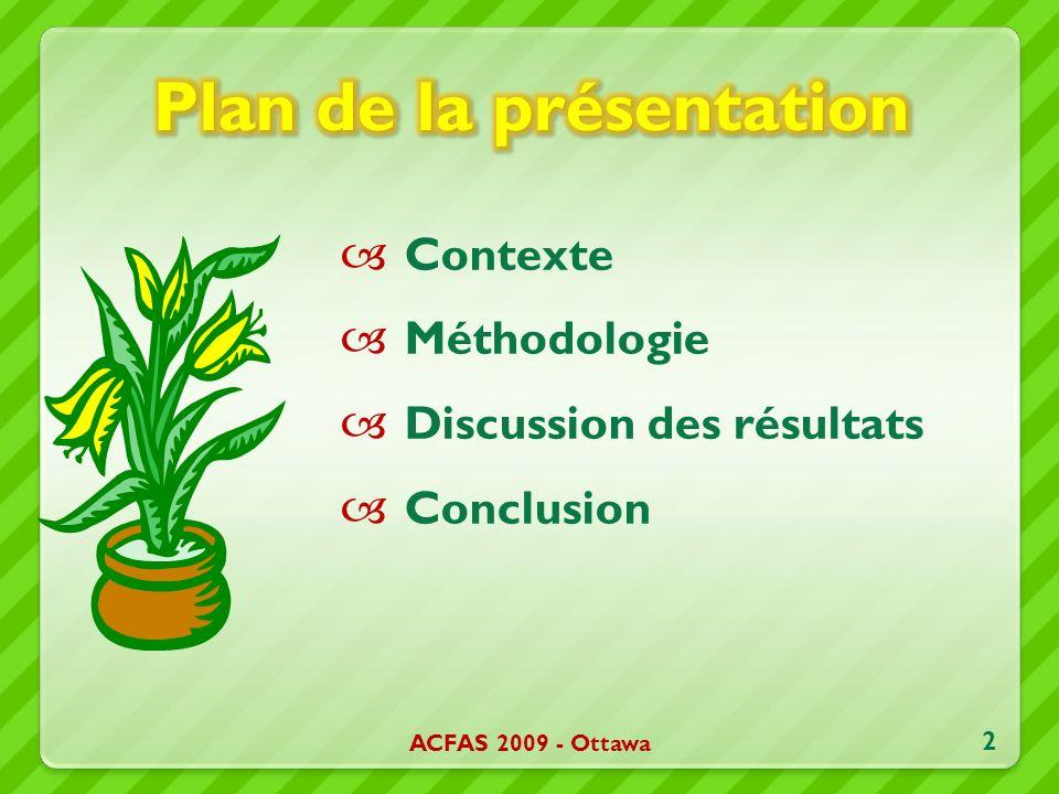 Contexte Méthodologie Discussion des résultats Conclusion ACFAS 2009 - Ottawa 2