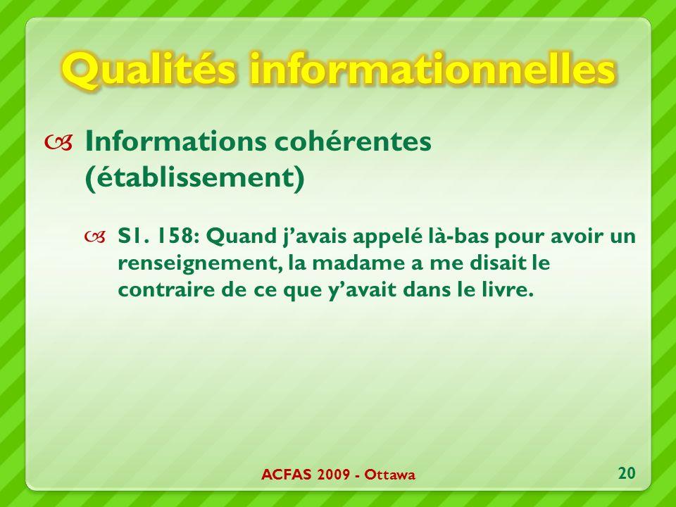 Informations cohérentes (établissement) S1. 158: Quand javais appelé là-bas pour avoir un renseignement, la madame a me disait le contraire de ce que