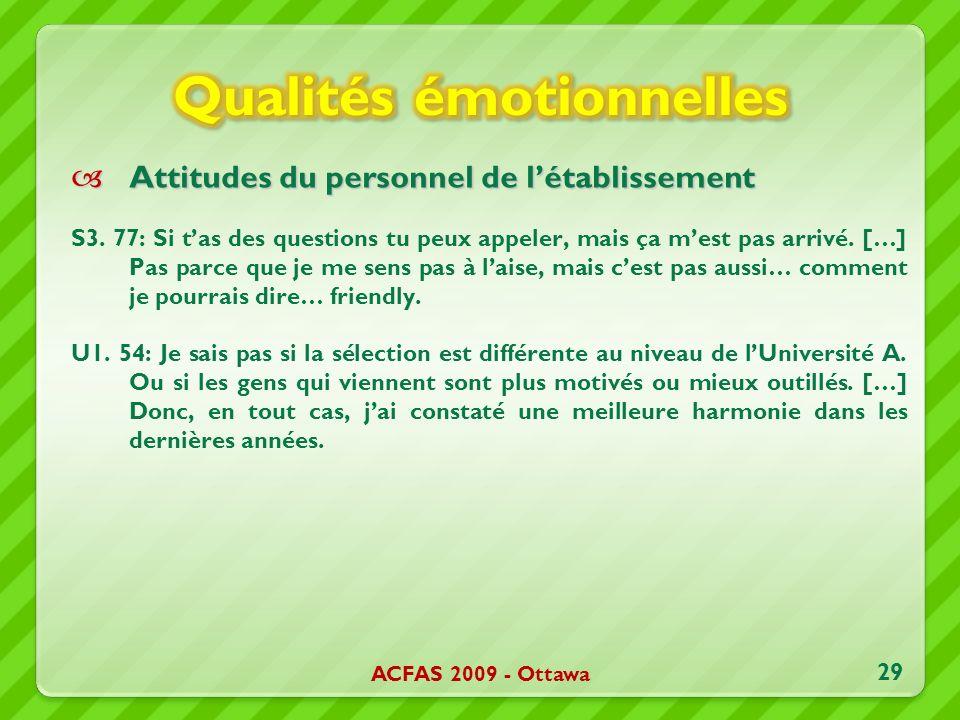 Attitudes du personnel de létablissement Attitudes du personnel de létablissement S3. 77: Si tas des questions tu peux appeler, mais ça mest pas arriv