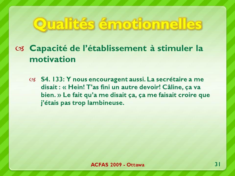 Capacité de létablissement à stimuler la motivation S4.