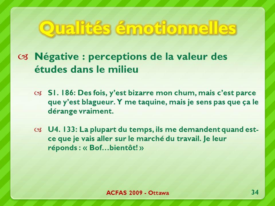 Négative : perceptions de la valeur des études dans le milieu S1.