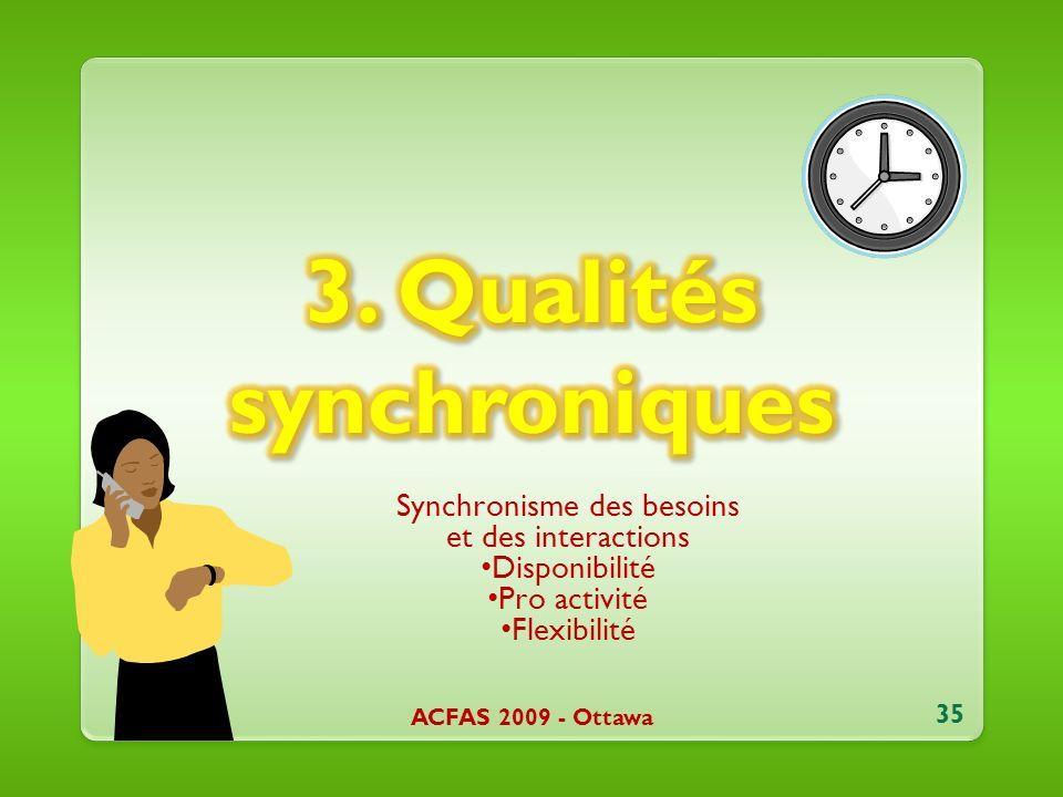 Synchronisme des besoins et des interactions Disponibilité Pro activité Flexibilité ACFAS 2009 - Ottawa 35