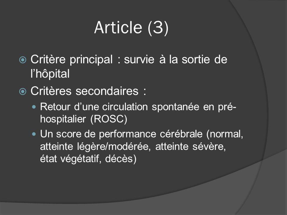 Article (3) Critère principal : survie à la sortie de lhôpital Critères secondaires : Retour dune circulation spontanée en pré- hospitalier (ROSC) Un score de performance cérébrale (normal, atteinte légère/modérée, atteinte sévère, état végétatif, décès)