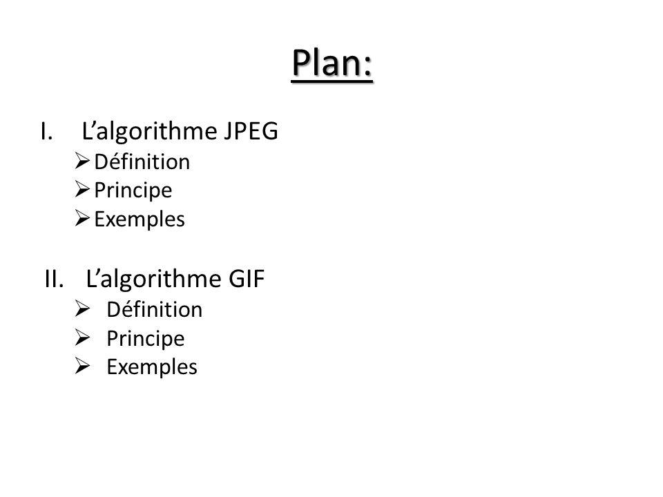 Plan: I.Lalgorithme JPEG Définition Principe Exemples II.Lalgorithme GIF Définition Principe Exemples