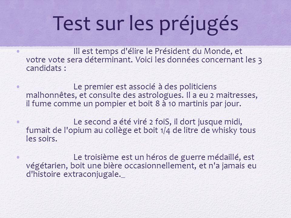 Test sur les préjugés Ill est temps d'élire le Président du Monde, et votre vote sera déterminant. Voici les données concernant les 3 candidats : Le p