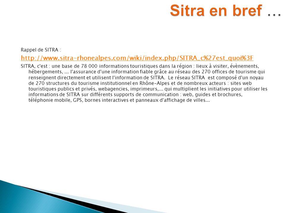 Rappel de SITRA : http://www.sitra-rhonealpes.com/wiki/index.php/SITRA_c%27est_quoi%3F SITRA, c'est : une base de 78 000 informations touristiques dan