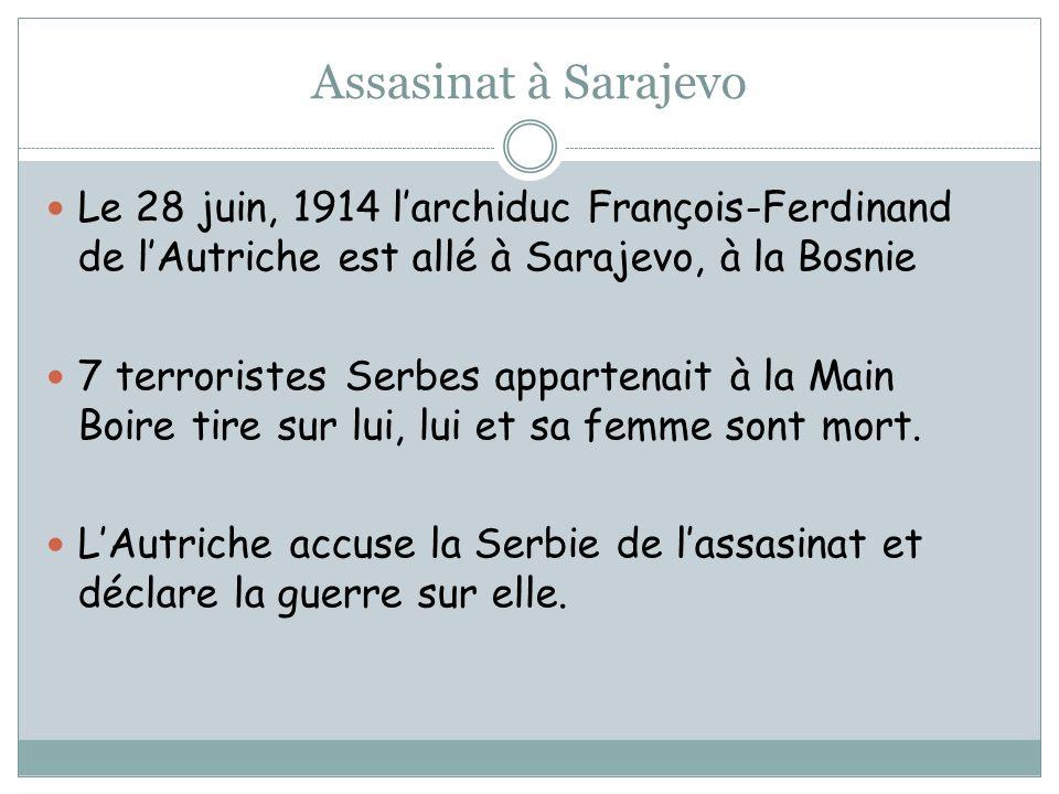 Assasinat à Sarajevo Le 28 juin, 1914 larchiduc François-Ferdinand de lAutriche est allé à Sarajevo, à la Bosnie 7 terroristes Serbes appartenait à la Main Boire tire sur lui, lui et sa femme sont mort.