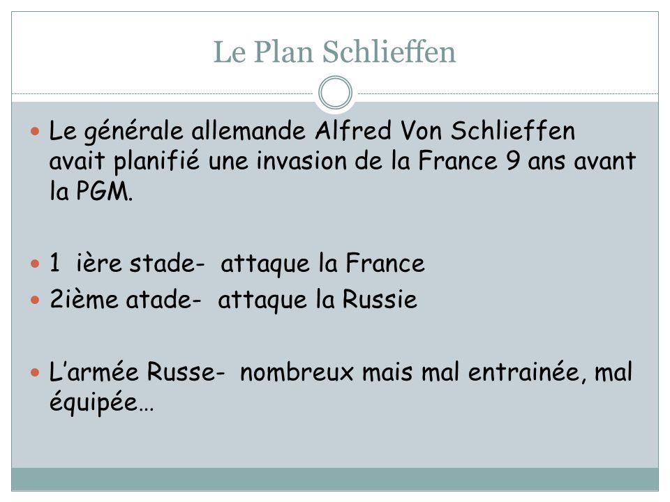 Le Plan Schlieffen Le générale allemande Alfred Von Schlieffen avait planifié une invasion de la France 9 ans avant la PGM. 1 ière stade- attaque la F