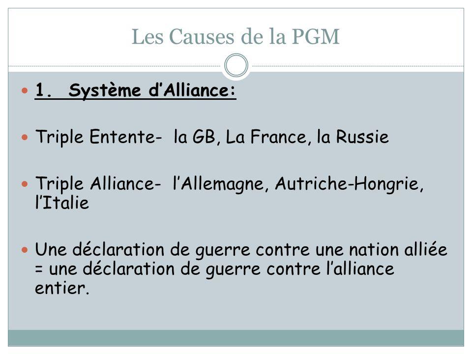 Les Causes de la PGM 1. Système dAlliance: Triple Entente- la GB, La France, la Russie Triple Alliance- lAllemagne, Autriche-Hongrie, lItalie Une décl