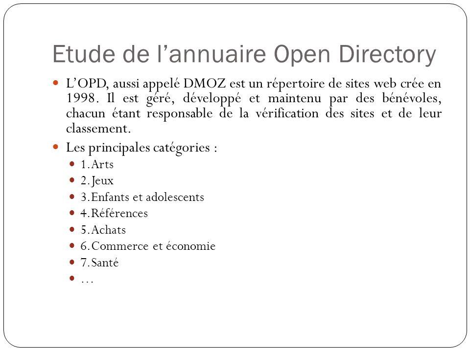 Etude de lannuaire Open Directory LOPD, aussi appelé DMOZ est un répertoire de sites web crée en 1998.