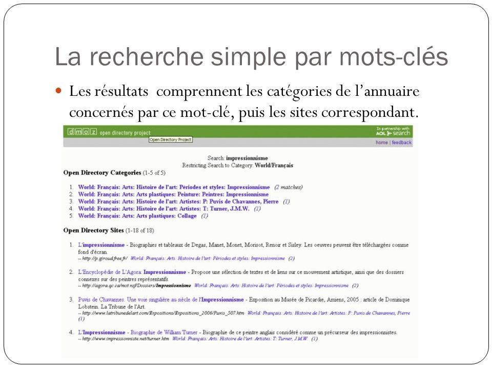 La recherche simple par mots-clés Les résultats comprennent les catégories de lannuaire concernés par ce mot-clé, puis les sites correspondant.