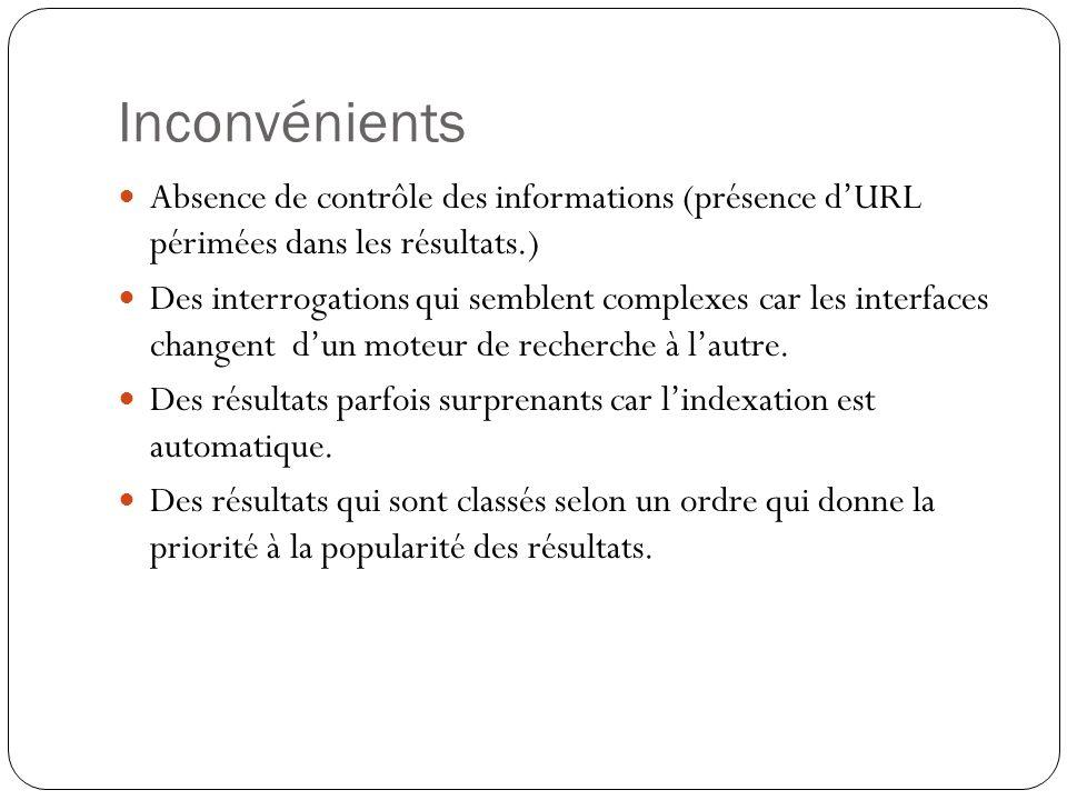 Inconvénients Absence de contrôle des informations (présence dURL périmées dans les résultats.) Des interrogations qui semblent complexes car les interfaces changent dun moteur de recherche à lautre.
