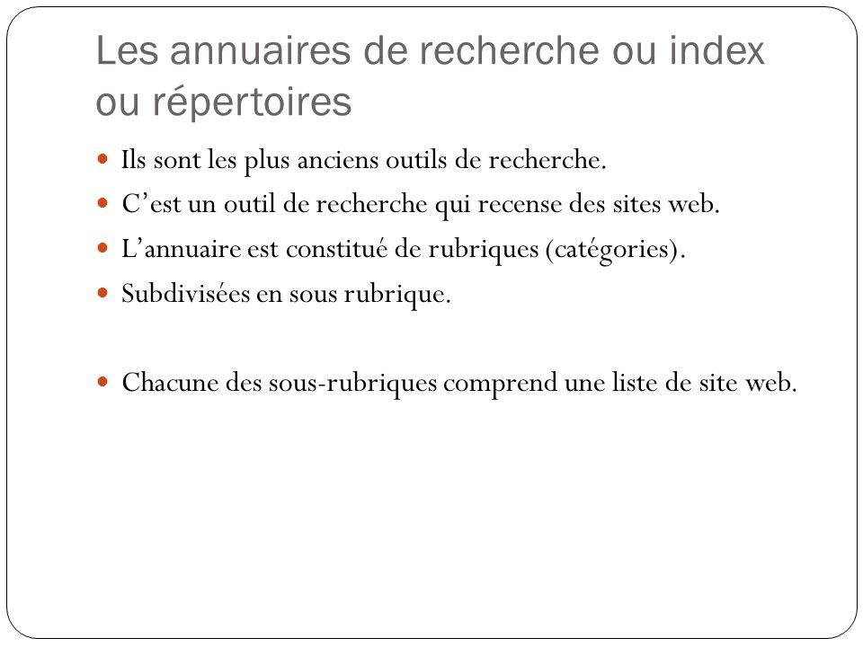 Les annuaires de recherche ou index ou répertoires Ils sont les plus anciens outils de recherche. Cest un outil de recherche qui recense des sites web