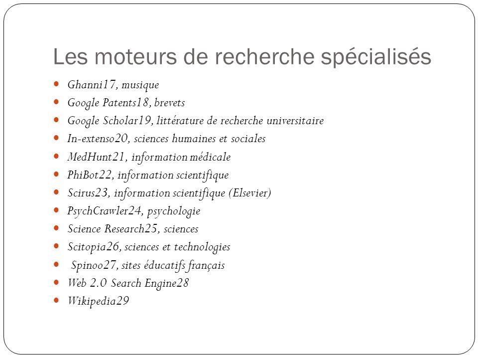 Les moteurs de recherche spécialisés Ghanni17, musique Google Patents18, brevets Google Scholar19, littérature de recherche universitaire In-extenso20