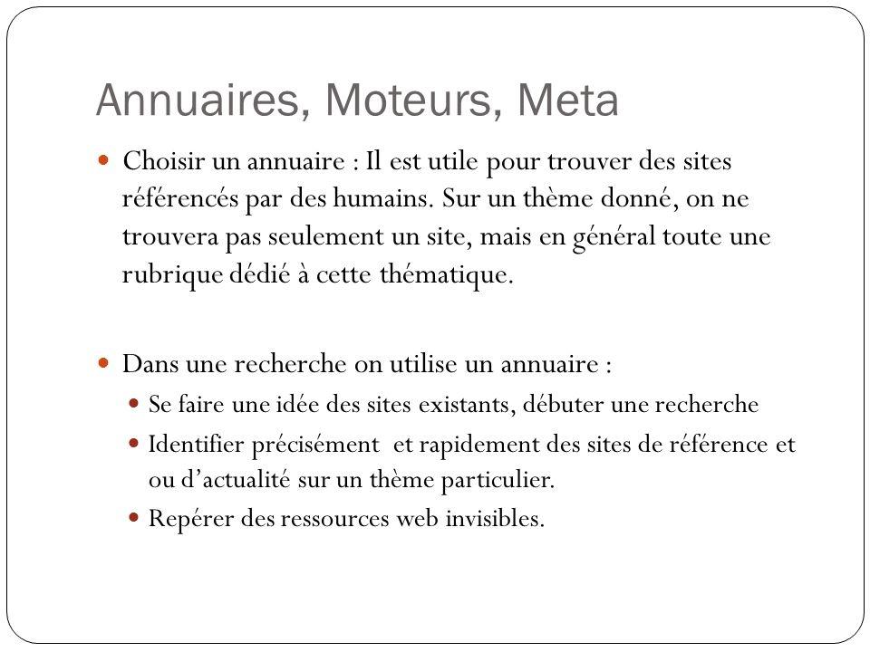Annuaires, Moteurs, Meta Choisir un annuaire : Il est utile pour trouver des sites référencés par des humains.