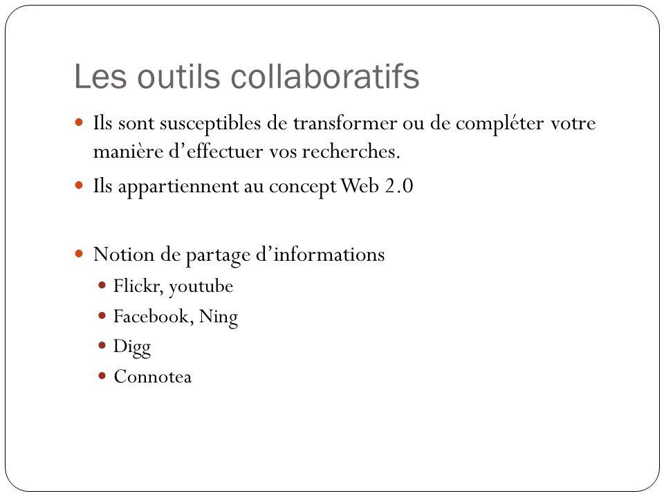 Les outils collaboratifs Ils sont susceptibles de transformer ou de compléter votre manière deffectuer vos recherches. Ils appartiennent au concept We