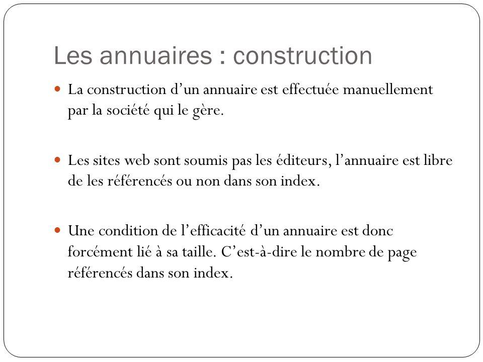 Les annuaires : construction La construction dun annuaire est effectuée manuellement par la société qui le gère. Les sites web sont soumis pas les édi