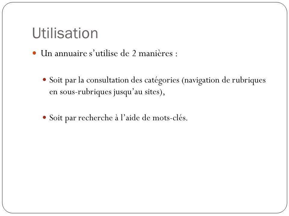 Utilisation Un annuaire sutilise de 2 manières : Soit par la consultation des catégories (navigation de rubriques en sous-rubriques jusquau sites), Soit par recherche à laide de mots-clés.