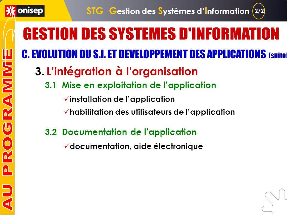 C. EVOLUTION DU S.I. ET DEVELOPPEMENT DES APPLICATIONS 1. Le cadre du développement 1.1 Caractéristiques dune application 1.2 Formalisation des besoin