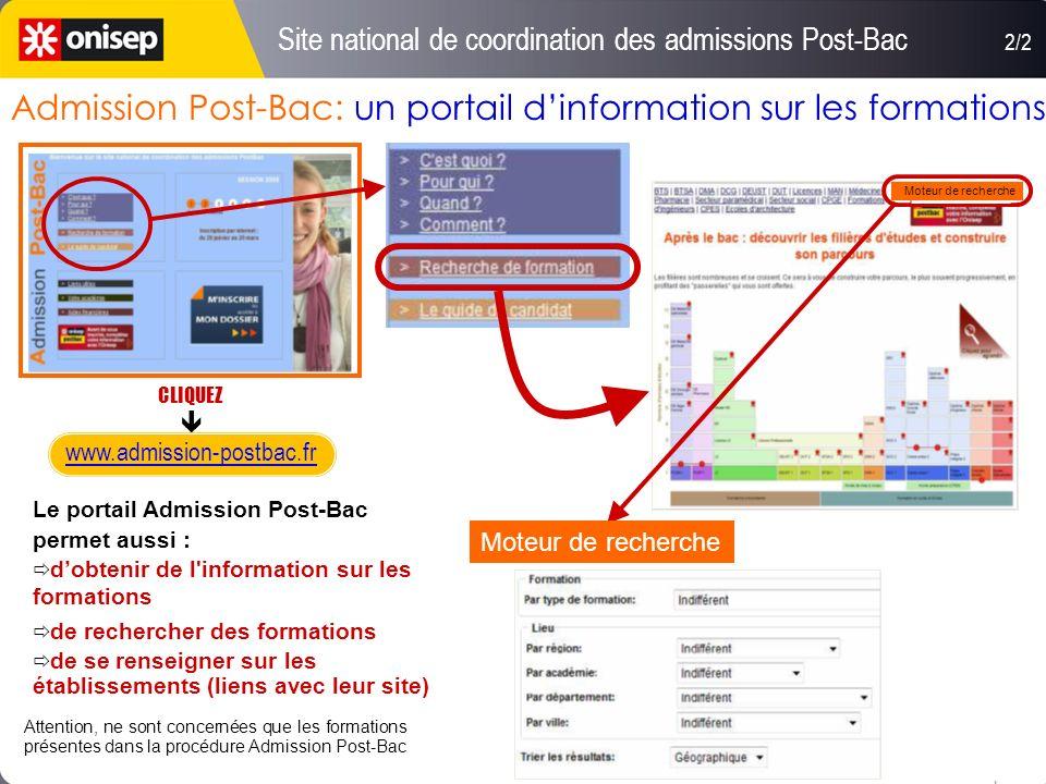 Site national de coordination des admissions Post-Bac 1/2 Portail pour tous les élèves de terminale : saisie et classement des vœux suivi du dossier -
