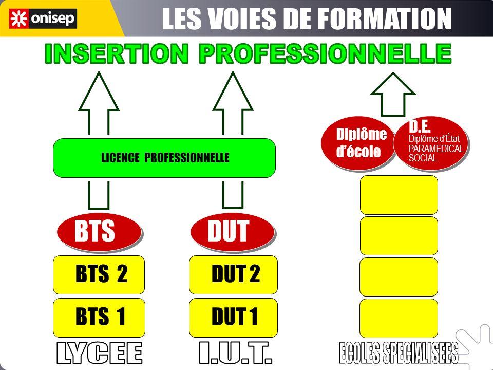 Études courtes BTS - DUT - Licence PRO Diplômes dÉcoles spécialisées