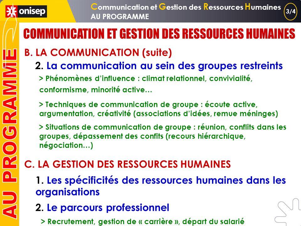 A. LES GROUPES 1. Le groupe Définition, typologie, caractéristiques… 2. La dynamique du groupe Cohésion, décision, leadership B. LA COMMUNICATION 1. L