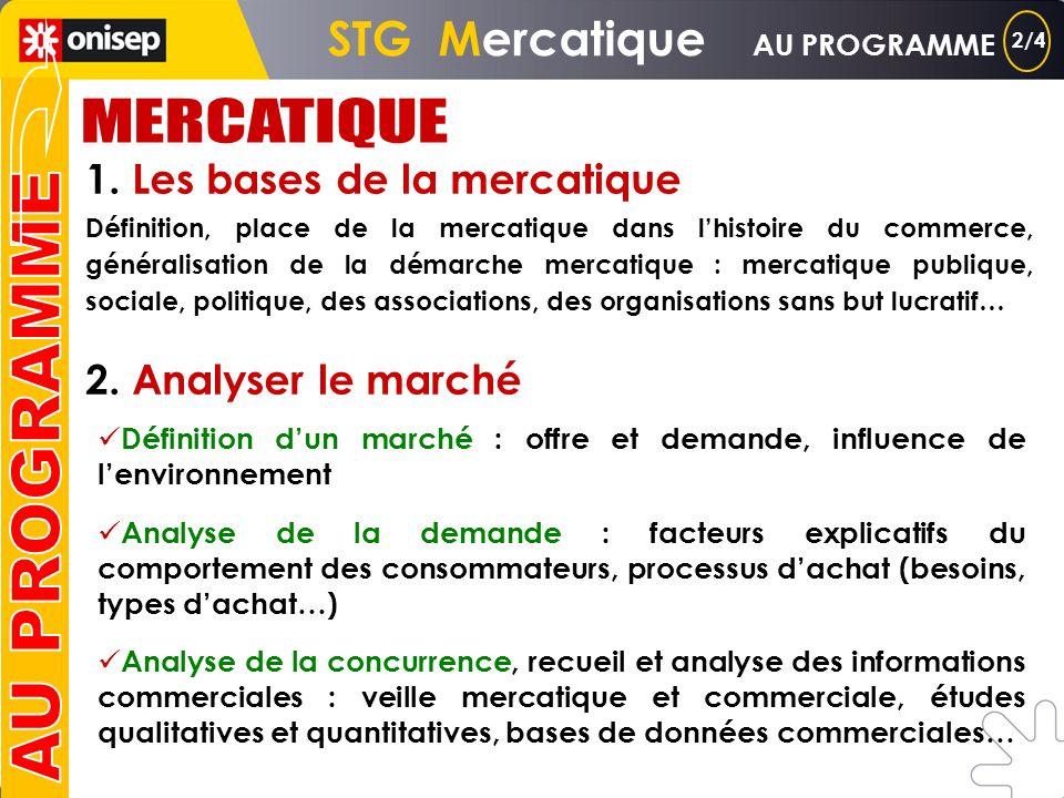 8h par semaine COURS 4h TRAVAUX DIRIGES 4h STG Mercatique AU PROGRAMME Source : BO hors série n° 2 du 24/02/2005 1/4