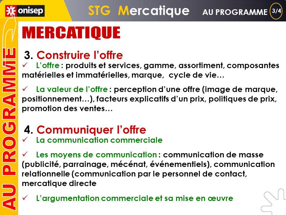 STG Mercatique AU PROGRAMME 1. Les bases de la mercatique Définition, place de la mercatique dans lhistoire du commerce, généralisation de la démarche