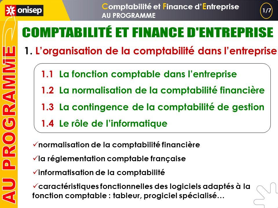 C omptabilité et F inance d E ntreprise AU PROGRAMME 1. Lorganisation de la comptabilité dans lentreprise 2. La production de linformation financière