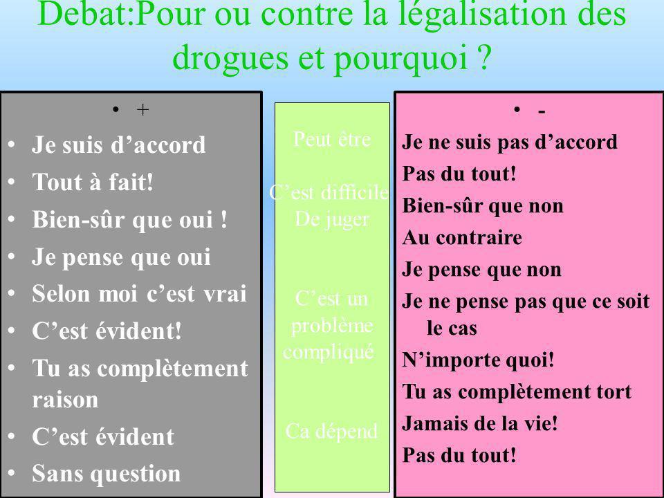 Debat:Pour ou contre la légalisation des drogues et pourquoi .