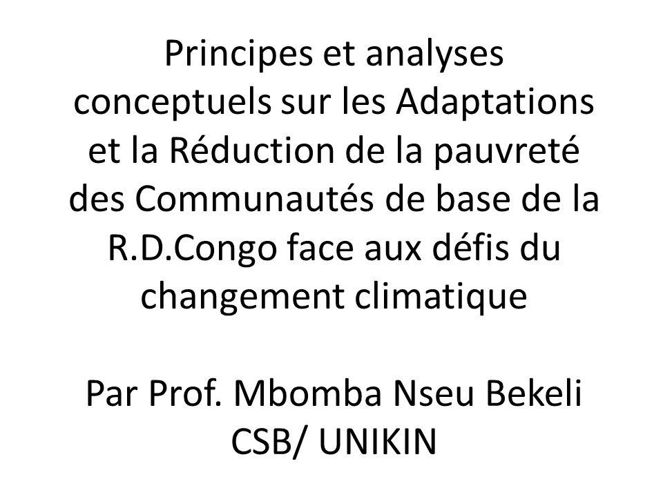 Principes et analyses conceptuels sur les Adaptations et la Réduction de la pauvreté des Communautés de base de la R.D.Congo face aux défis du changement climatique Par Prof.