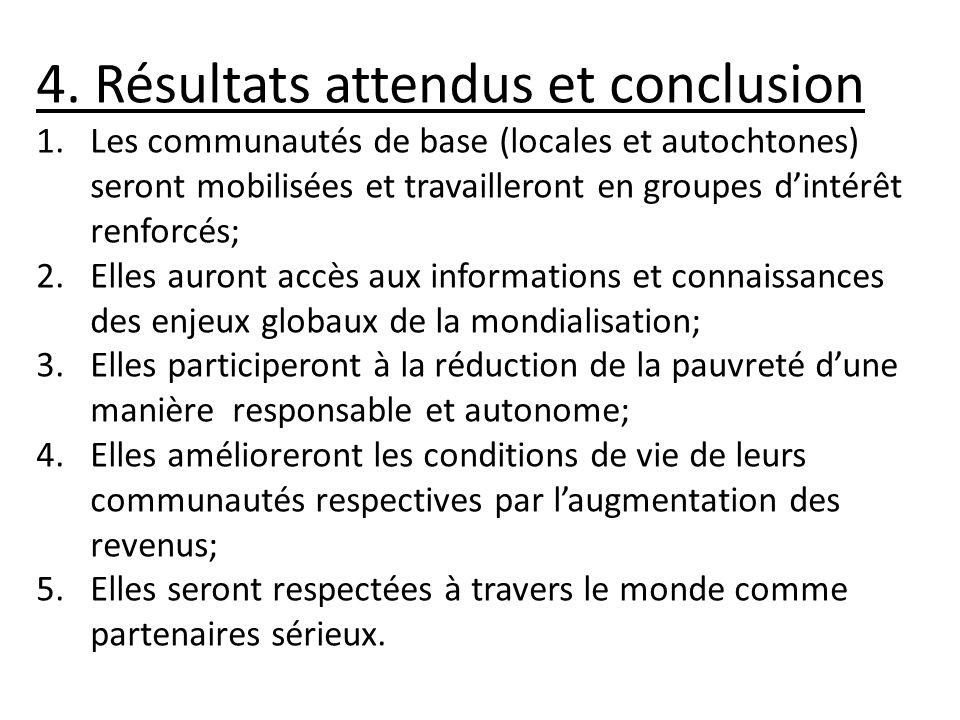 4. Résultats attendus et conclusion 1.Les communautés de base (locales et autochtones) seront mobilisées et travailleront en groupes dintérêt renforcé