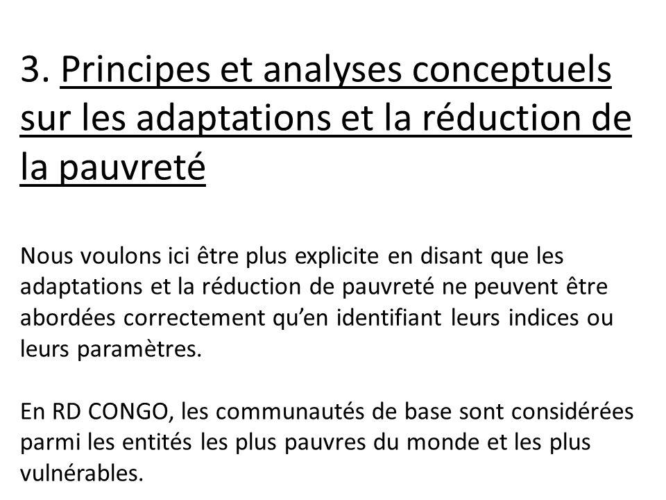 3. Principes et analyses conceptuels sur les adaptations et la réduction de la pauvreté Nous voulons ici être plus explicite en disant que les adaptat