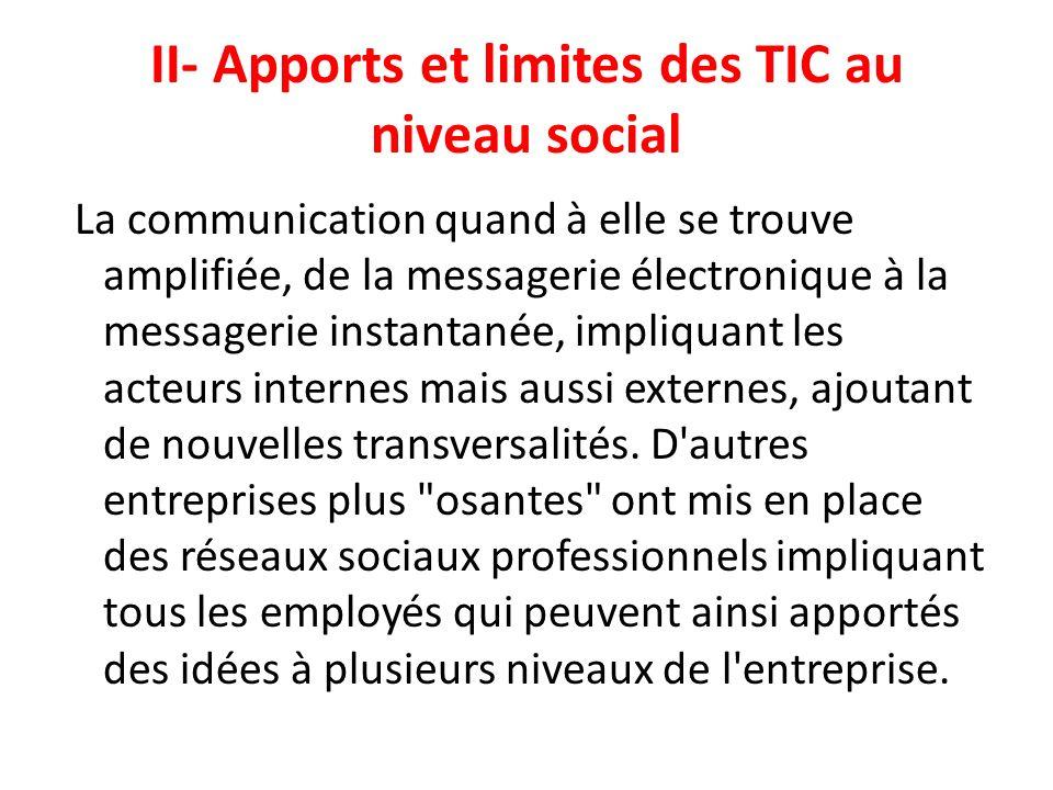 II- Apports et limites des TIC au niveau social La communication quand à elle se trouve amplifiée, de la messagerie électronique à la messagerie insta