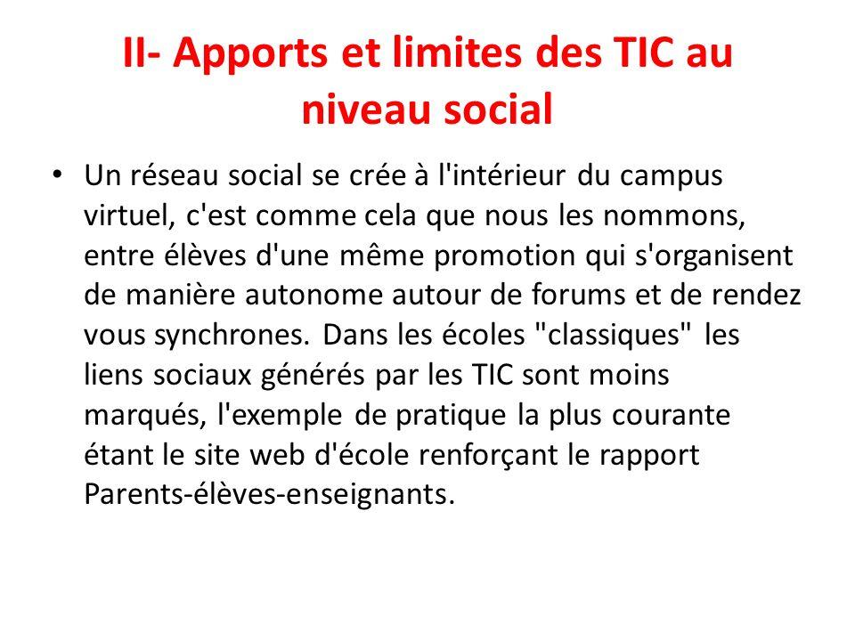 II- Apports et limites des TIC au niveau social Un réseau social se crée à l'intérieur du campus virtuel, c'est comme cela que nous les nommons, entre
