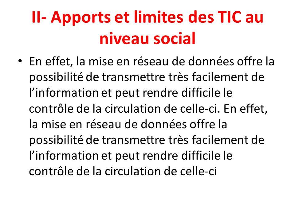 II- Apports et limites des TIC au niveau social En effet, la mise en réseau de données offre la possibilité de transmettre très facilement de linforma