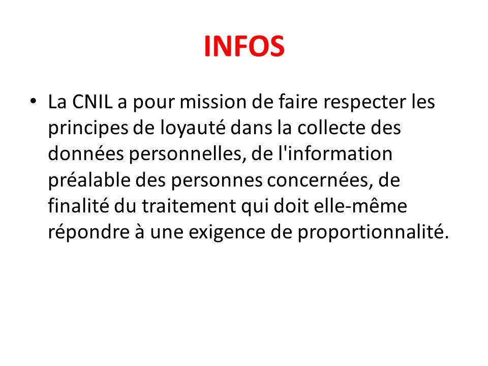 INFOS La CNIL a pour mission de faire respecter les principes de loyauté dans la collecte des données personnelles, de l'information préalable des per