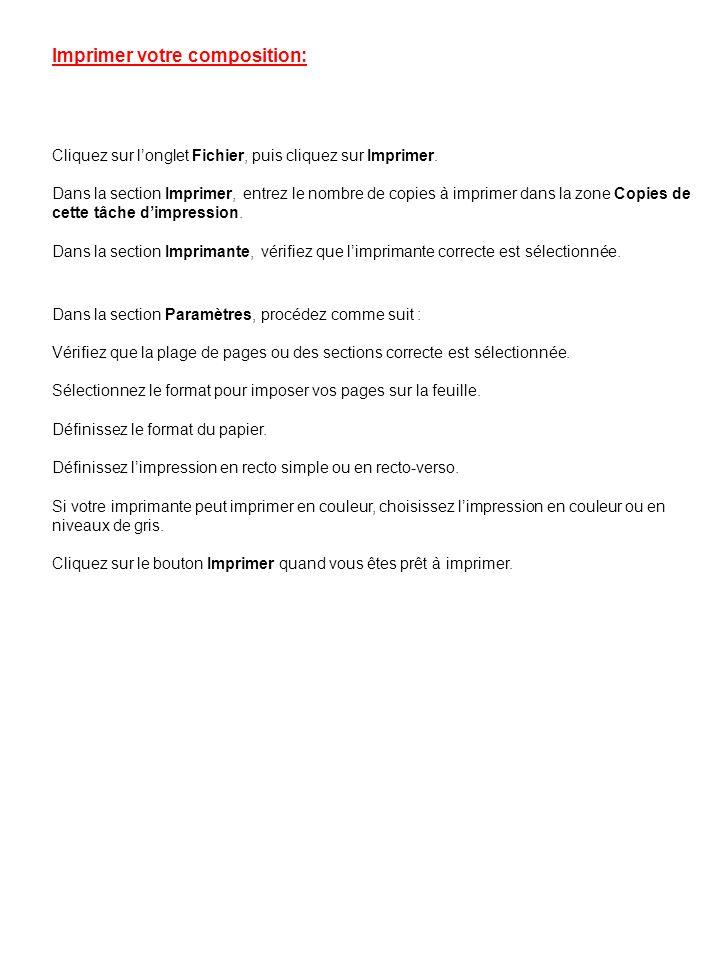 Dans la section Paramètres, procédez comme suit : Vérifiez que la plage de pages ou des sections correcte est sélectionnée. Sélectionnez le format pou