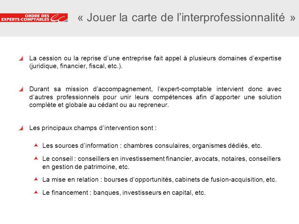 19 « Jouer la carte de linterprofessionnalité » La cession ou la reprise dune entreprise fait appel à plusieurs domaines dexpertise (juridique, financ